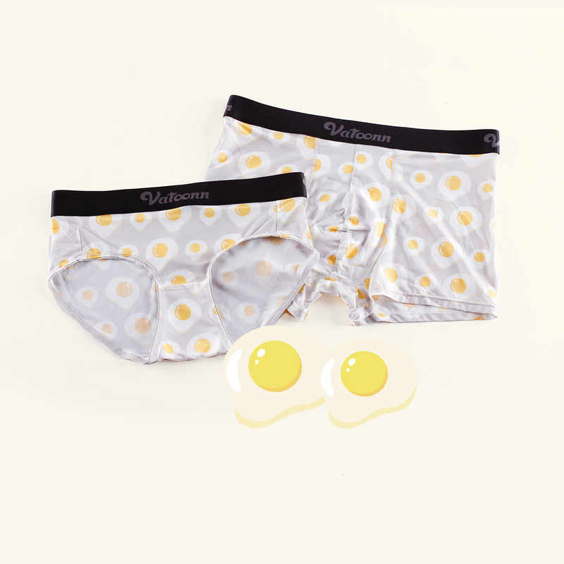 Morning Eggs Ice Silk Couple Underwear-His & Her Matching Apparel-Pinklouds