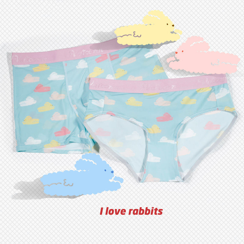 Rabbits Ice Silk Couple Underwear