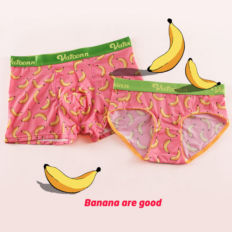 Pink Banana Fruit Ice Silk Couple Underwear-His & Her Matching Apparel-Pinklouds
