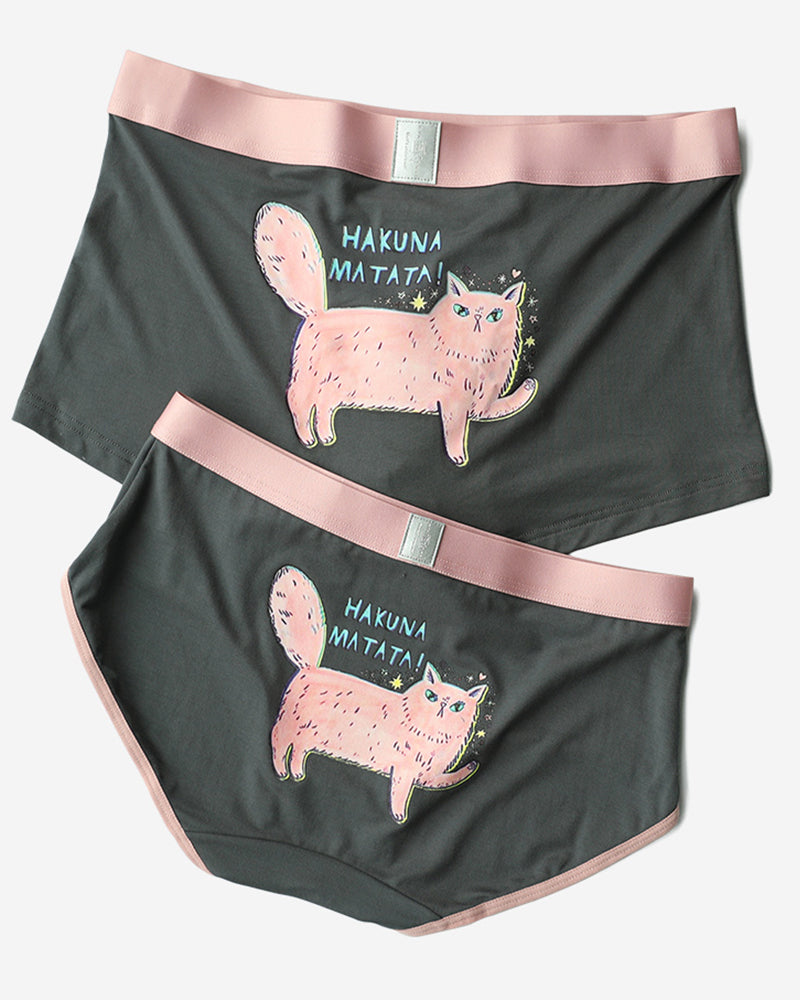 Pinklouds®️ Modal Cotton Couple Matching Underwear - Pink Cat