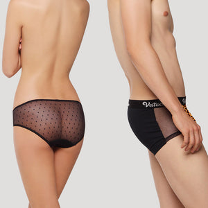 Sexy Leopard Print Lace Mesh See Through Couple Underwear