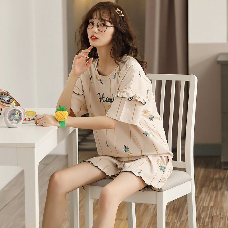 Cotton Lettered Casual Home Wear Matching Pajama