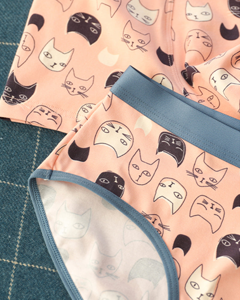 Cotton Couple Matching Underwear - White & Black Cats - Pinklouds