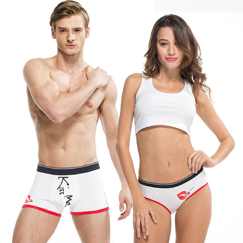 Red Lips Couple Underwear - White-His & Her Matching Apparel-Pinklouds