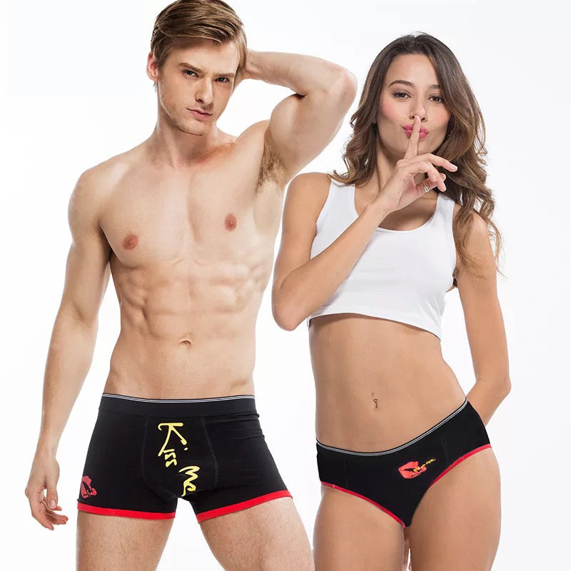 Red Lips Couple Underwear - Black-His & Her Matching Apparel-Pinklouds