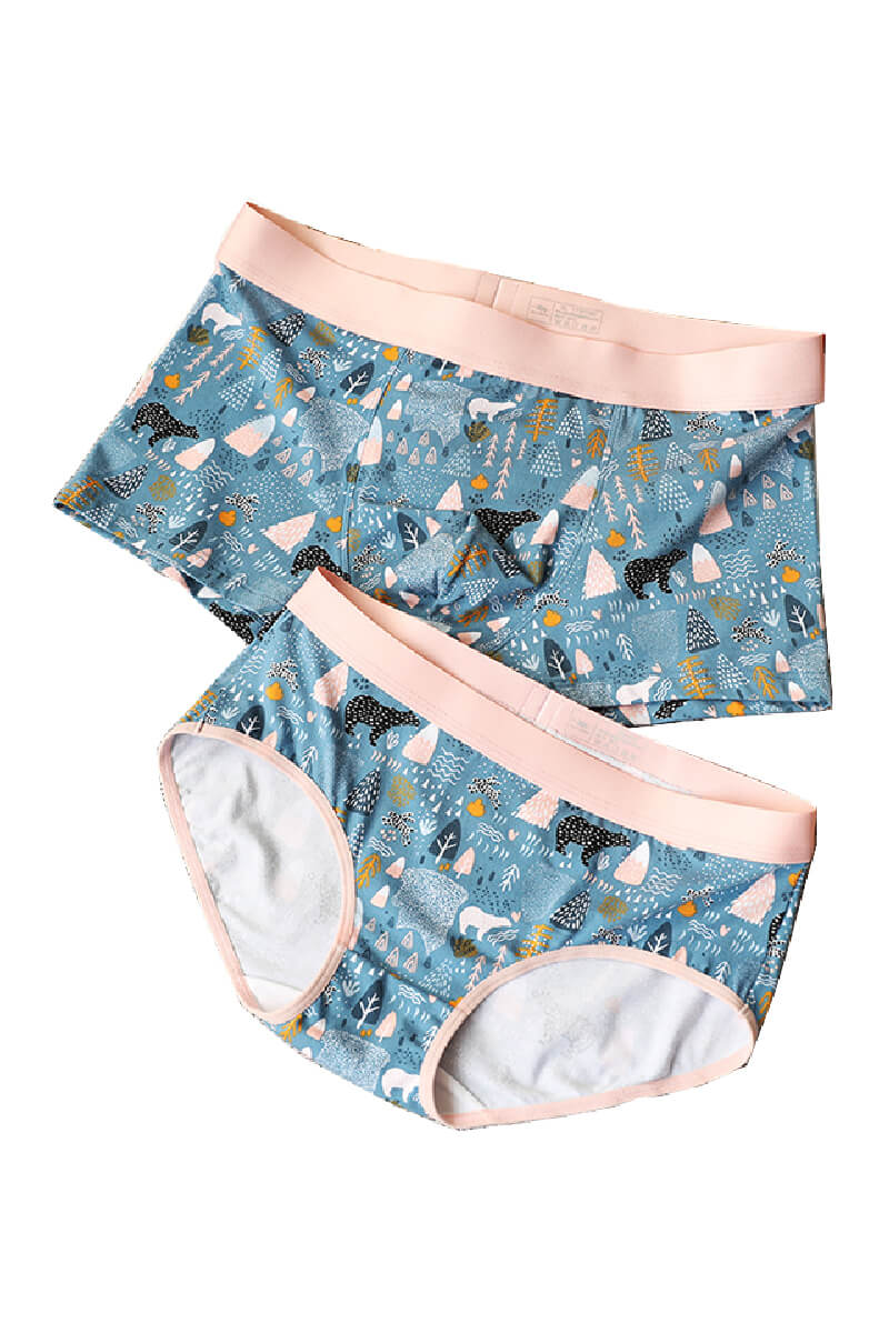 Fantasy Forest Pattern Couple Matching Underwear - Goldie - Pinklouds