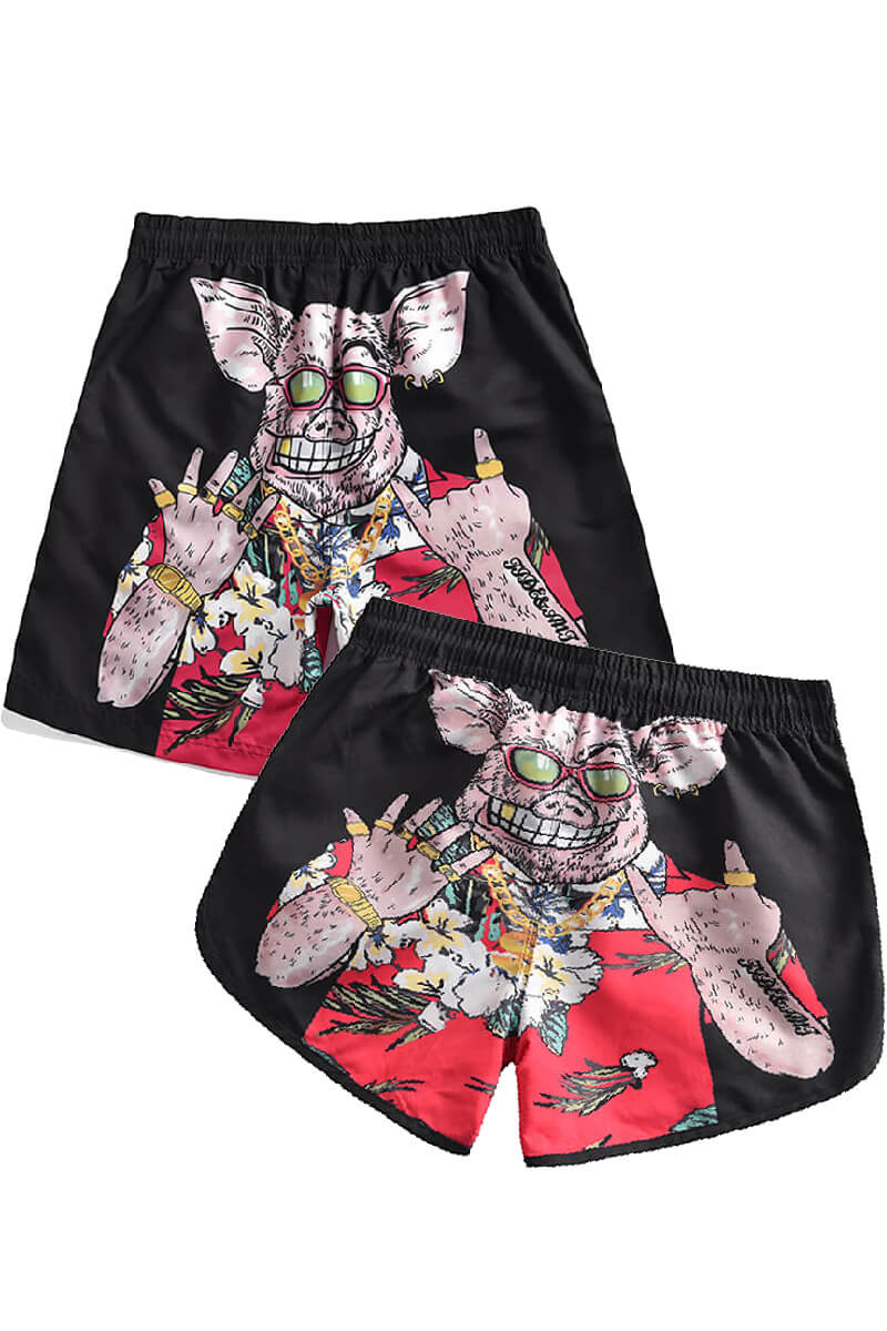 Pig Printed Couple Matching Beach Shorts