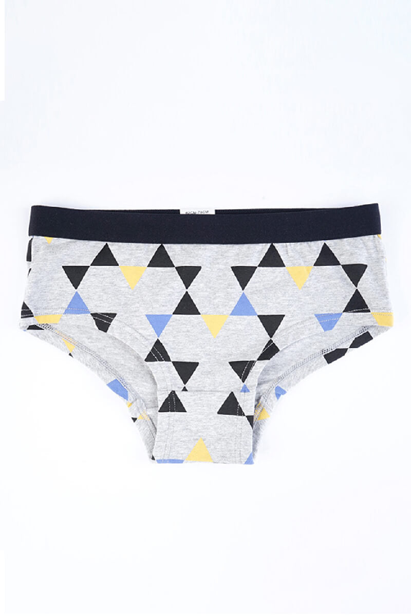 Gray Triangle Pattern Couple Matching Underwear