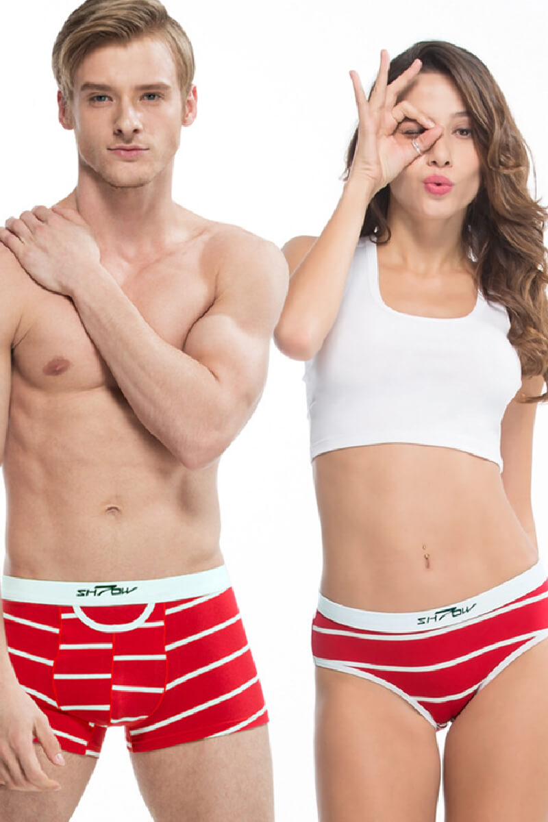 Red Stripes Couple Matching Underwear