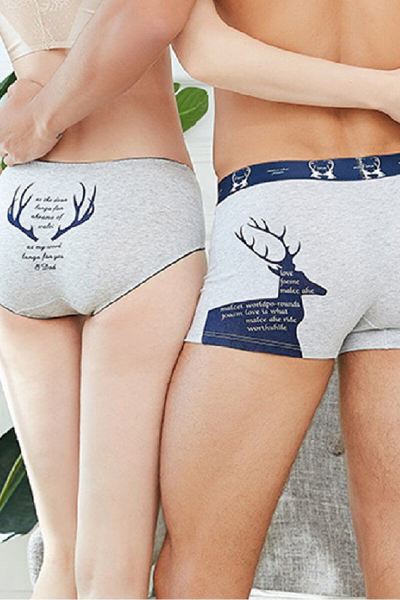 9ce1ebcabe Gray Elk Pattern Couple Matching Underwear