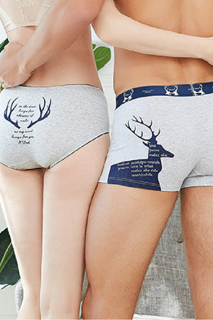 Christmas Reindeer Elk Couple Underwear-His & Her Matching Apparel-Pinklouds