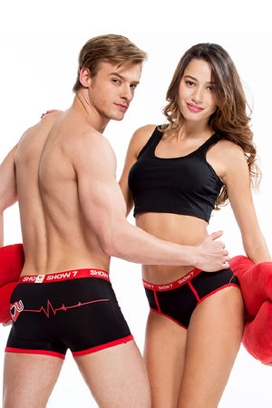 Heart Printed Couple Matching Underwear - Lapre - Pinklouds