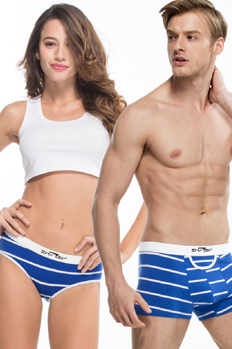 Blue Stripes Couple Underwear - Pinklouds