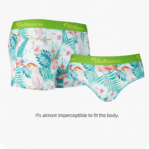 Flamingo and Leaves Ice Silk Couple Underwear-His & Her Matching Apparel-Pinklouds