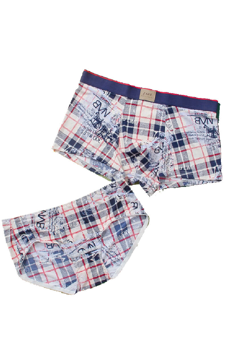 Gray Plaid Pattern Couple Matching Underwear