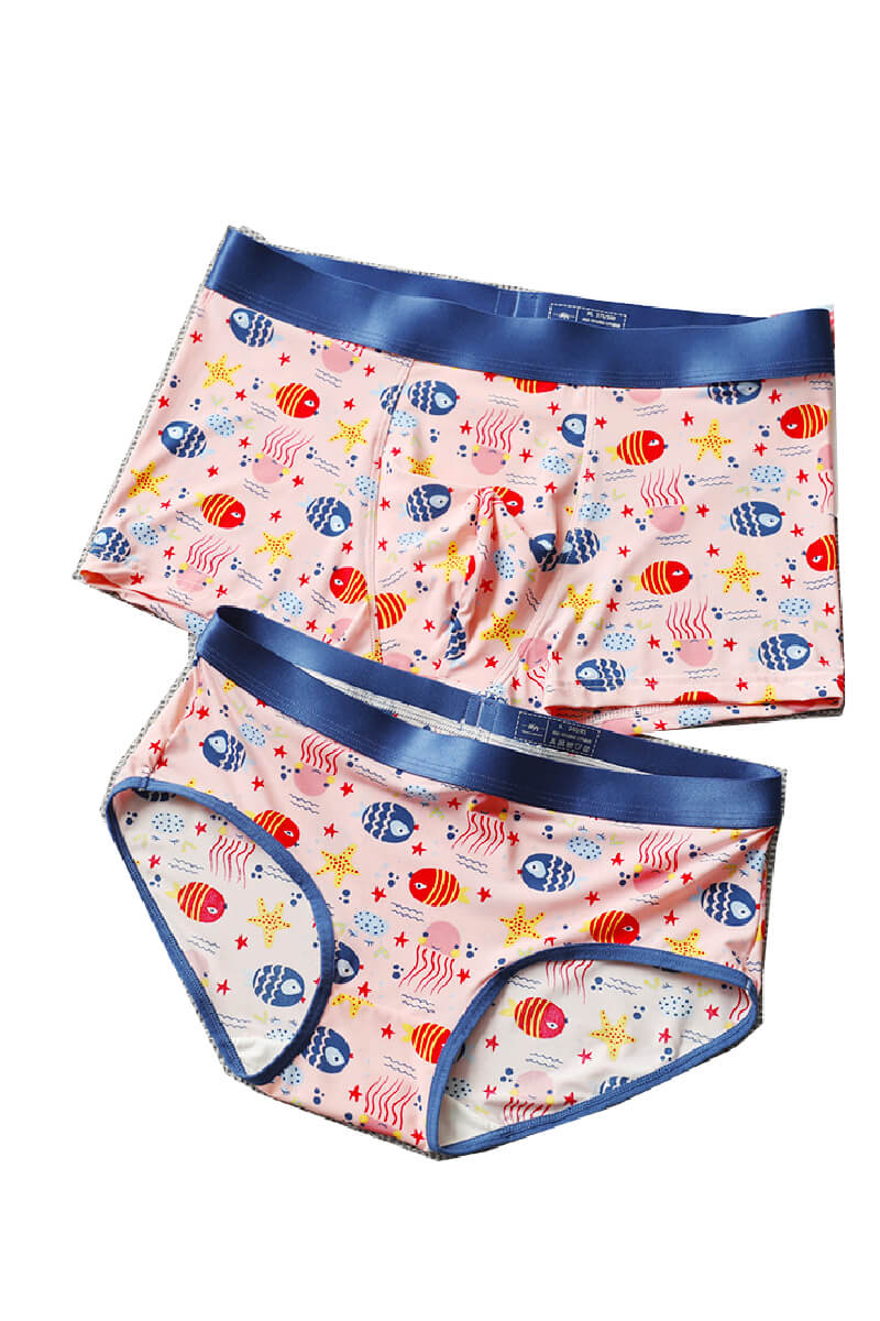Ice Silk Undersea World Couple Underwear - Pinklouds