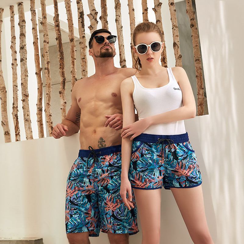 Pineapple Print Couple Matching Beach Shorts