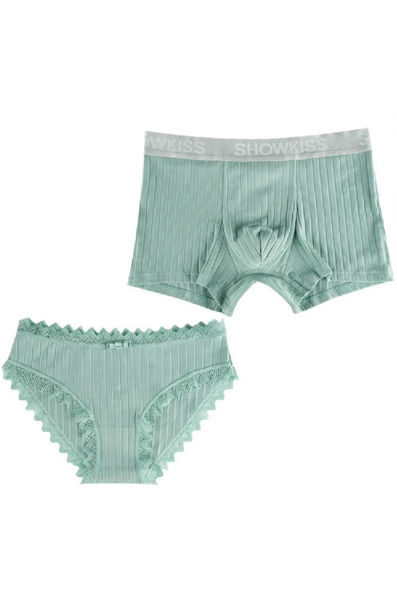 Green Lace Edge Couple Matching Underwear