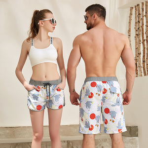 Rainbow Pattern Couple Matching Beach Shorts - Hatton - Pinklouds