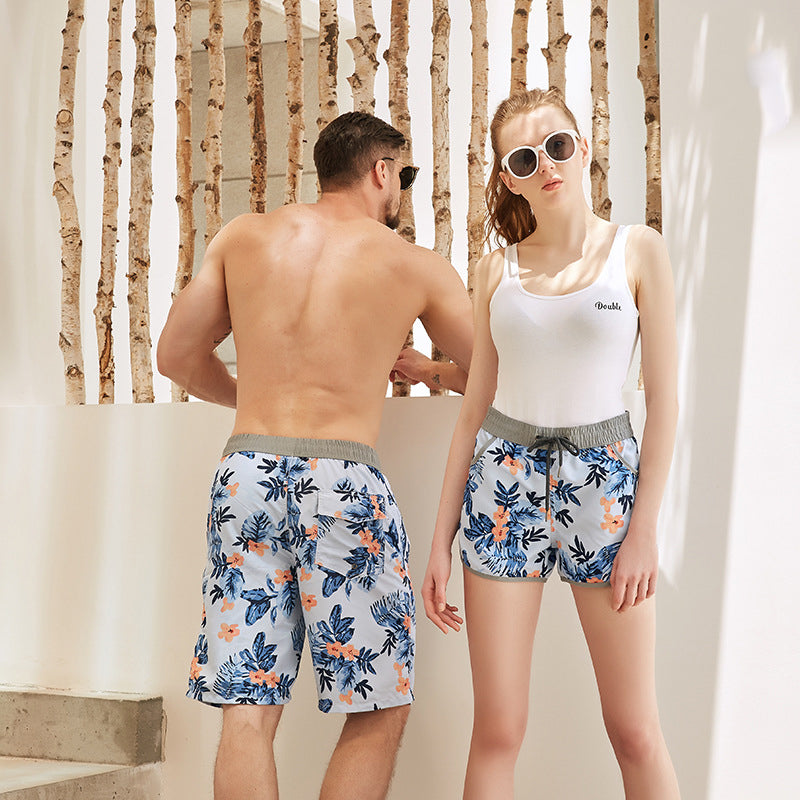 Whorl Pattern Couple Matching Beach Shorts - Hasson - Pinklouds