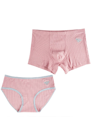 Bee Pink Cotton Couple Underwear-His & Her Matching Apparel-Pinklouds