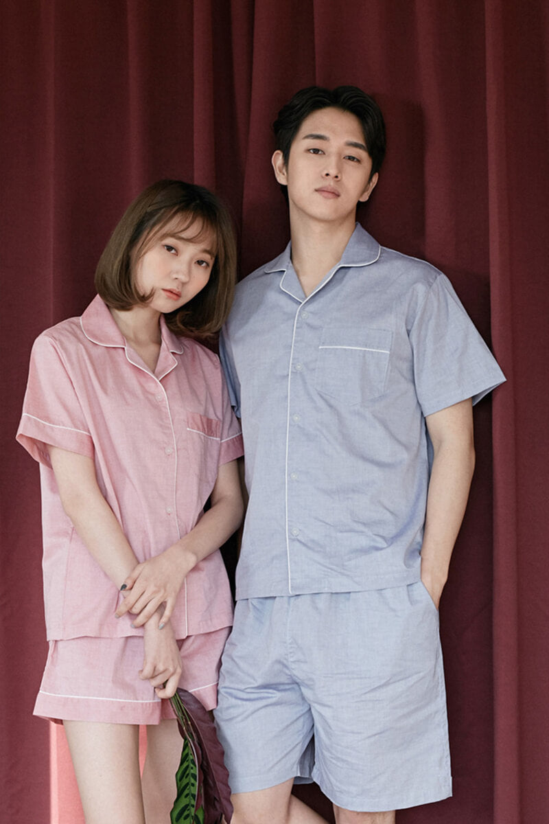 Lapel Cotton Couple Matching Pajamas - Neil - Pinklouds
