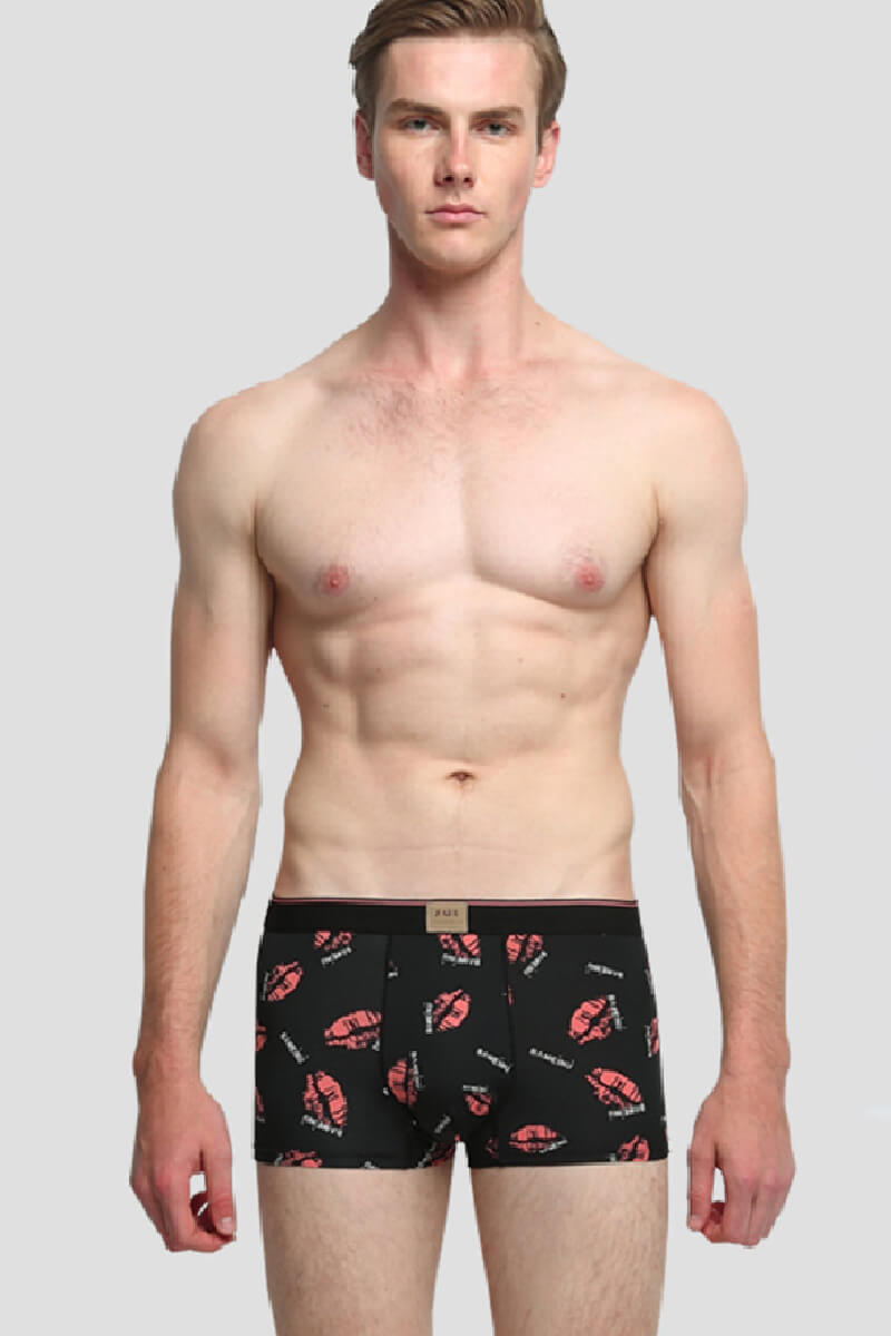 Red Lips Ice Silk Couple Underwear-His & Her Matching Apparel-Pinklouds