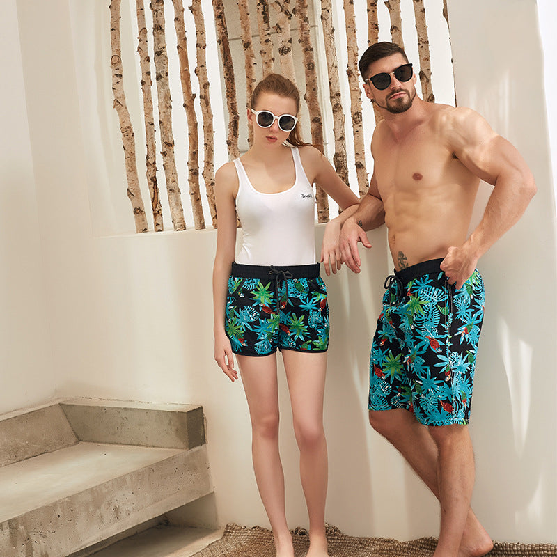 Colorful Print Couple Matching Beach Shorts