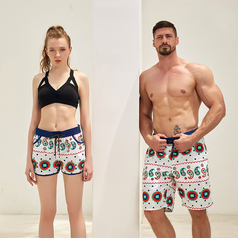 Fashion Print Couple Matching Beach Shorts