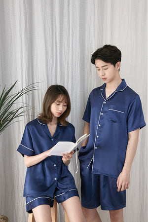 Solid Color Silk Couple Matching Pajamas - Noah - Pinklouds