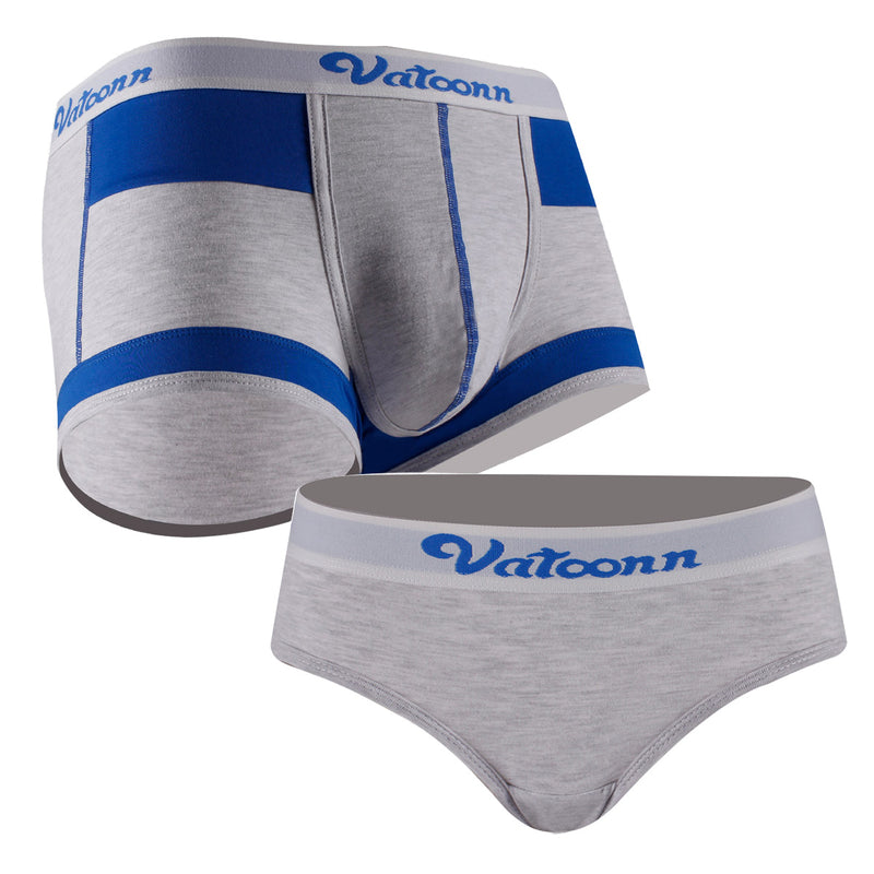 Colorblock Blue Gray Cotton Couple Underwear