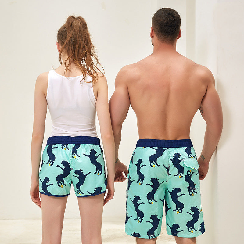Letter Print Couple Matching Beach Shorts