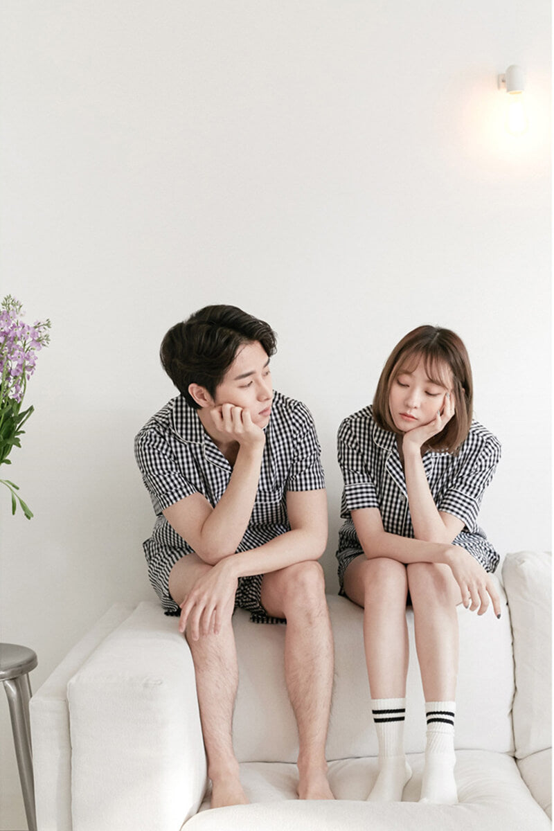 Grid Cotton Short-sleeved Couple Matching Pajamas - Nathaniel - Pinklouds