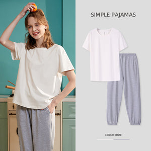 Simple colors Couple T-shirt & Shorts Matching Pajama