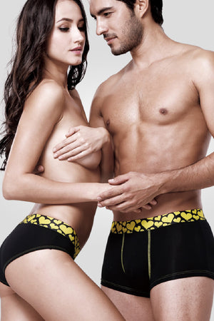 Yellow Heart Couple Underwear-His & Her Matching Apparel-Pinklouds
