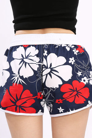 Flower Print Couple Matching Beach Shorts - Helie - Pinklouds