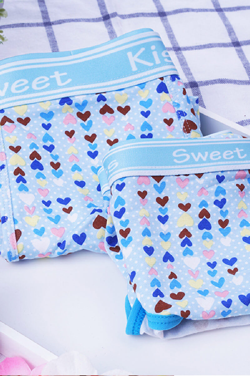 Blue Heart Couple Underwear-His & Her Matching Apparel-Pinklouds