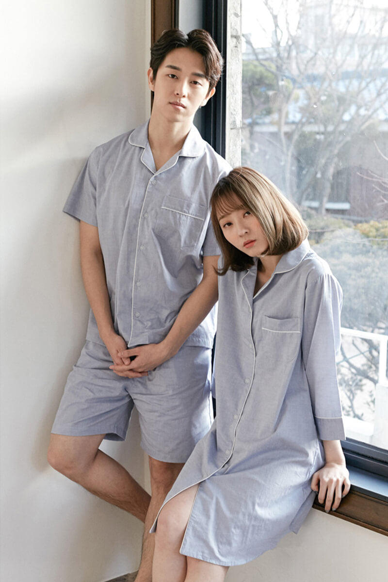 Blue Lapel Cotton Couple Matching Pajamas