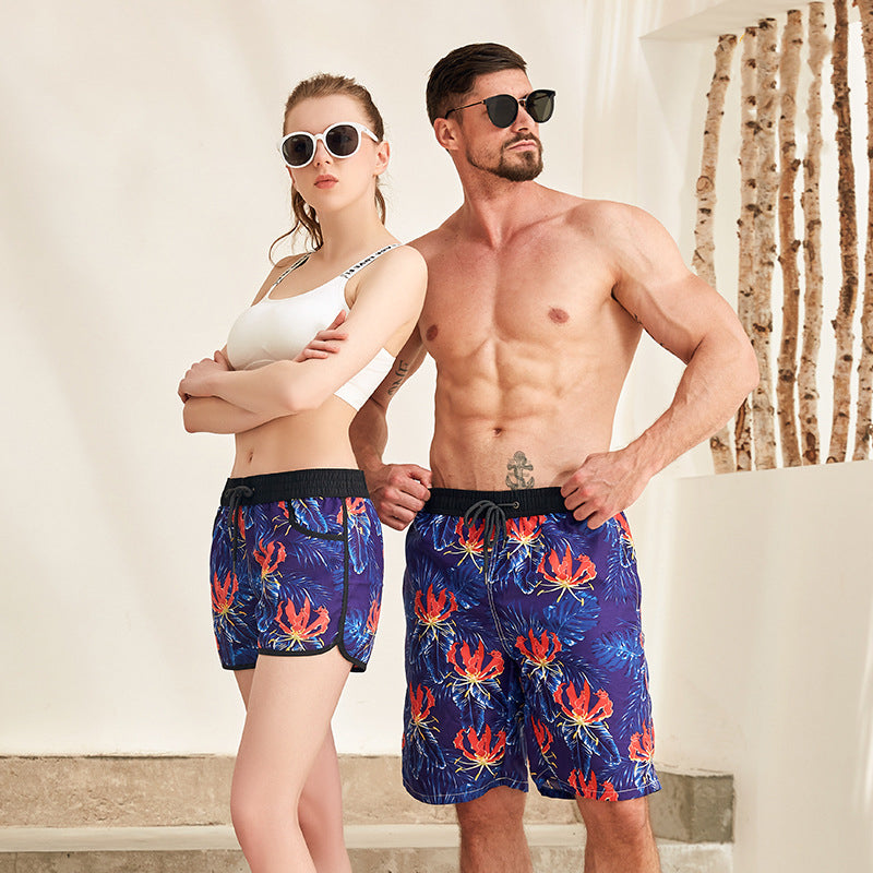 Shark Print Couple Matching Beach Shorts - Granat - Pinklouds