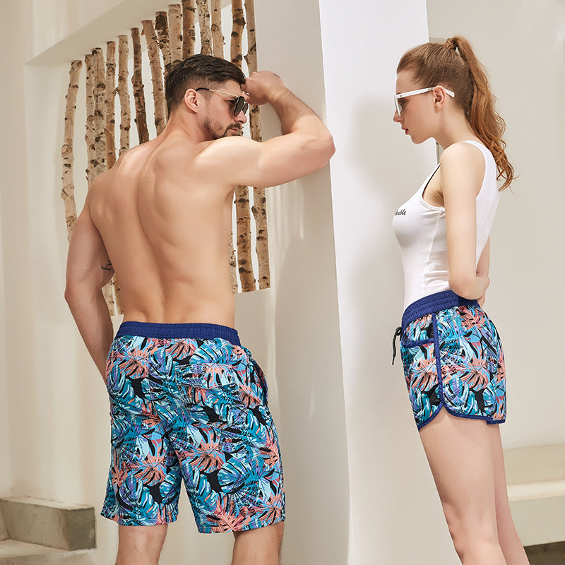 Pineapple Print Couple Matching Beach Shorts - Harle - Pinklouds