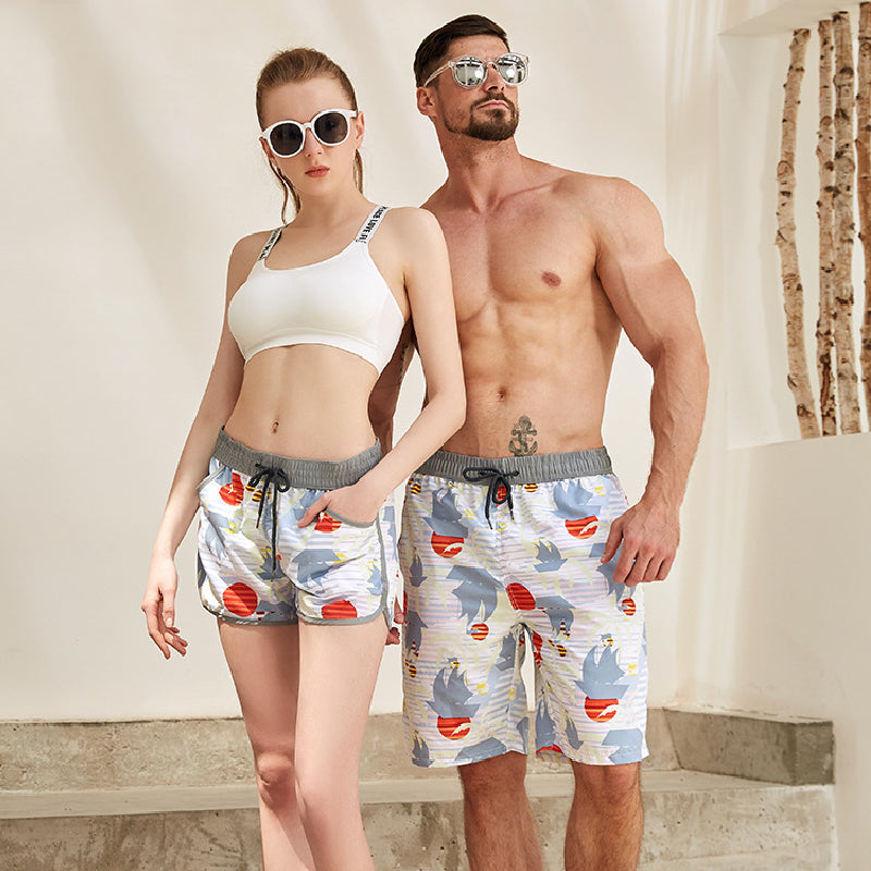 Rainbow Pattern Couple Matching Beach Shorts