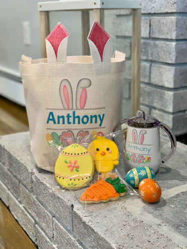 2 Children's Personalized Easter Bunny Gift Bags