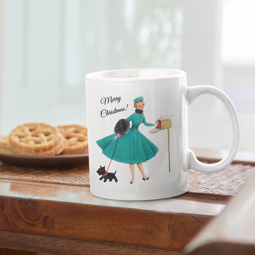 Retro Lady & Dog Merry Christmas Ceramic Mug
