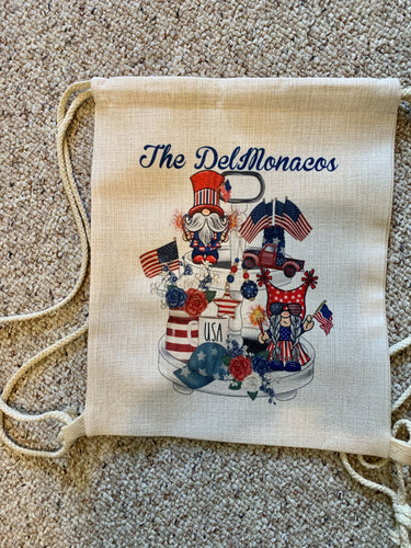 Patriotic Gnome Drawstring Backpack