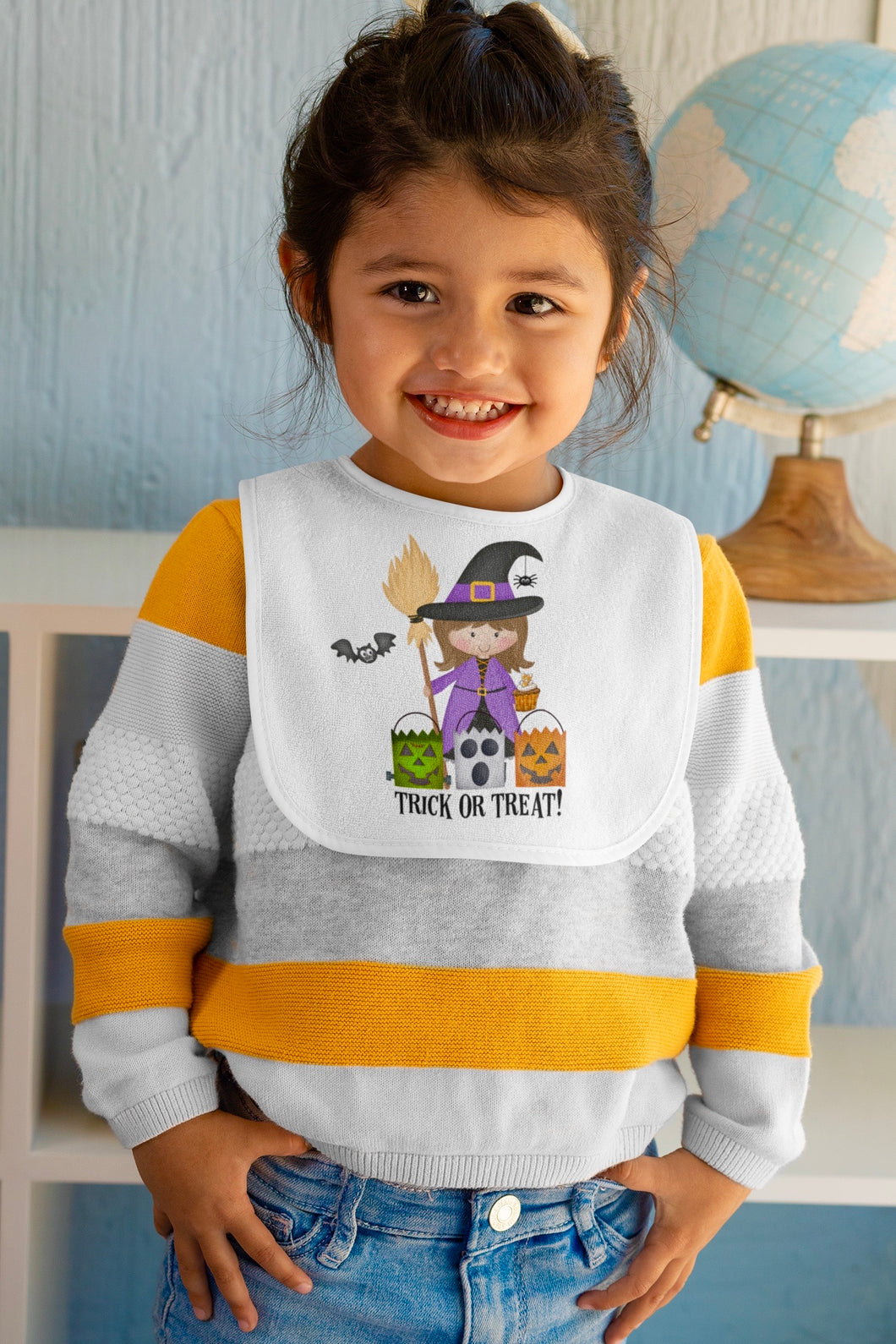 Cute Witch Fleece Bib