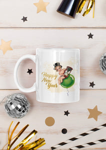 Retro Happy New Year Ceramic Mug