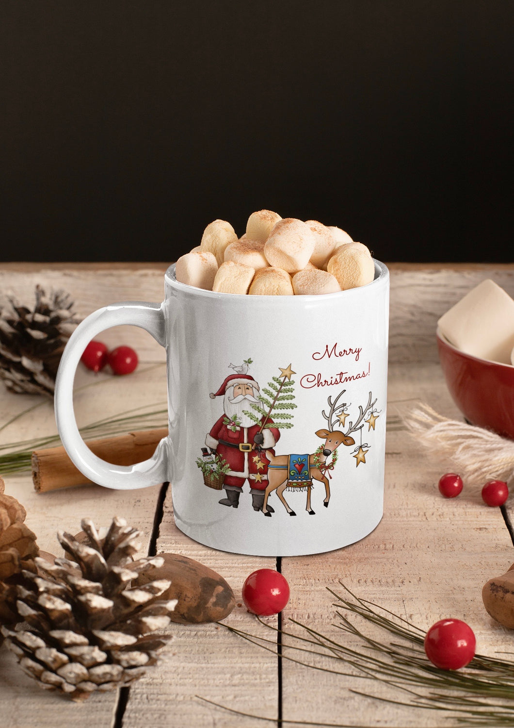 Merry Christmas Rustic Santa Ceramic Mug
