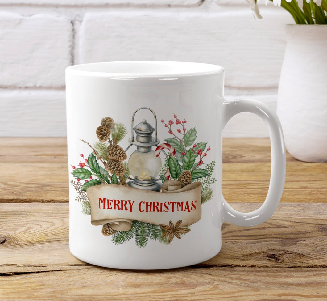 Wreath & Lantern Christmas Ceramic Mug