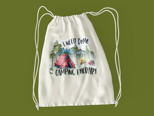 Camping Therapy Drawstring Backpack
