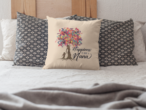 Happiness is Being a Nana Customizable Pillow Cover, Girl